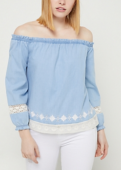 Denim Off Shoulder Crocheted Trim Top