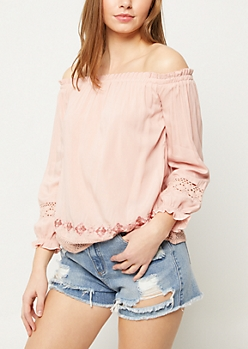 Pink Off Shoulder Crocheted Trim Top