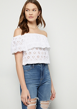 Ivory Floral Print Crochet Top