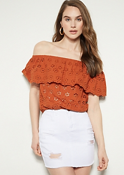 Burnt Orange Floral Print Crochet Top
