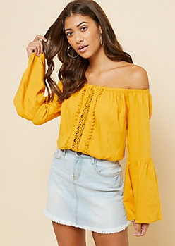 Mustard Crochet Front Off The Shoulder Crop Top
