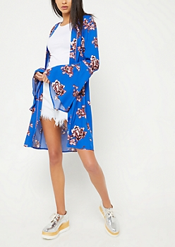 Royal Blue Piped Bell Sleeve Floral Kimono