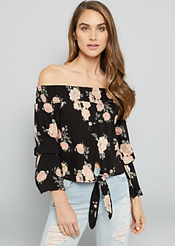 Black Floral Print Off The Shoulder Bell Sleeve Tie Front Top