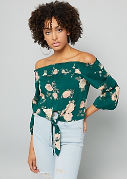 Green Floral Print Off The Shoulder Bell Sleeve Tie Front Top