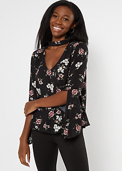 Black Floral Print Cut Out Bell Sleeve Blouse