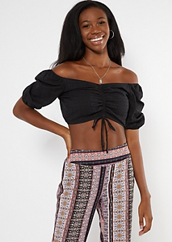 Black Swiss Dot Drawstring Ruched Puff Sleeve Crop Top