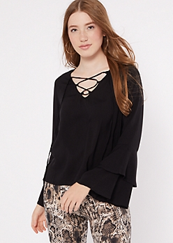 Black Bell Sleeve Lace up V Neck Top