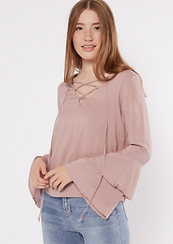 Mauve Bell Sleeve Lace up V Neck Top