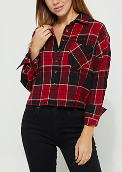 Red Plaid Print Flannel Crop Top