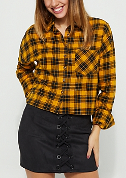 Mustard Plaid Print Flannel Crop Top