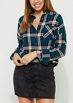 Dark Teal Plaid Print Flannel Crop Top