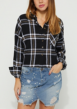 Black Plaid Print Flannel Crop Top
