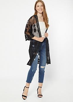 Black Embroidered Lace Kimono