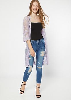 Lavender Embroidered Lace Kimono