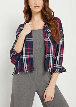 Blue Plaid Print Frayed Flannel Crop Top