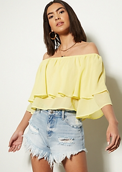 Yellow Flounce Off The Shoulder Crop Top
