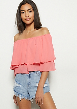 Coral Flounce Off The Shoulder Crop Top