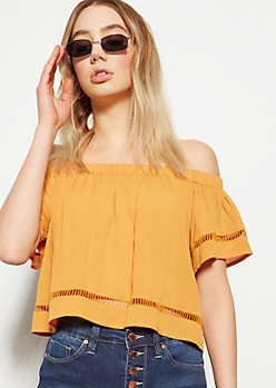Mustard Open Stitch Off The Shoulder Top