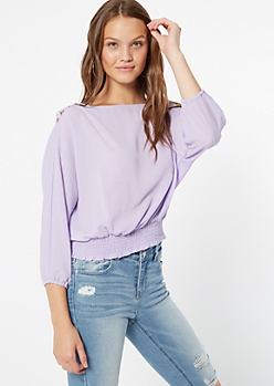 Lavender Lattice Shoulder Smocked Blouse
