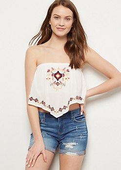 Ivory Embroidered V Tube Top