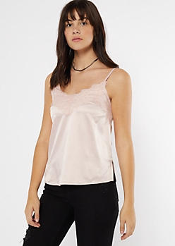 Pink Satin Lace Neck Tank Top