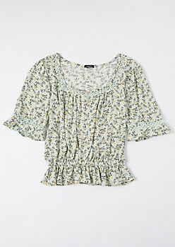 Mint Ditsy Floral Print Puff Sleeve Peplum Top