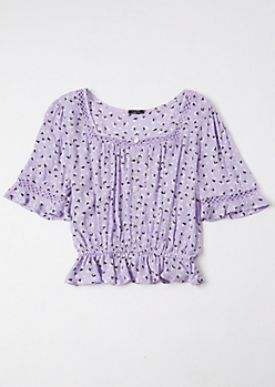 Lavender Ditsy Floral Print Puff Sleeve Peplum Top