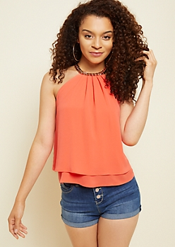 Coral Chain Neck Tank Top