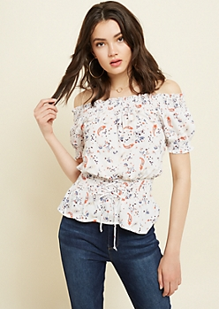 Ivory Paisley Print Off The Shoulder Corset Top