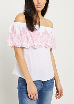Pink Border Embroidered Off The Shoulder Top