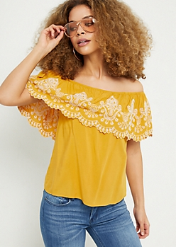 Mustard Border Embroidered Off The Shoulder Top