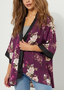 Purple Rose Printed Sateen Kimono