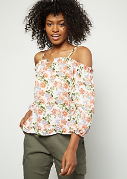 Ivory Floral Print Bar Front Cold Shoulder Blouse
