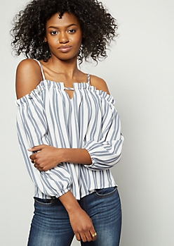 Blue Striped Bar Front Cold Shoulder Blouse