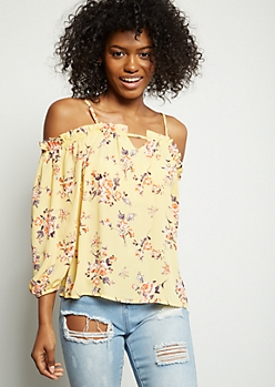 Mustard Floral Print Bar Front Cold Shoulder Blouse