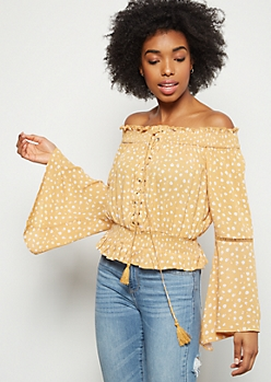 Mustard Floral Print Off The Shoulder Lace Up Top