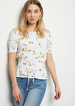 Ivory Floral Print Off The Shoulder Corset Top