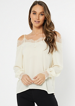 Ivory Eyelash Lace Cold Shoulder Blouse