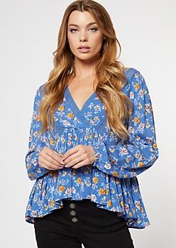 Blue Floral Print Crochet Trim Surplice Top