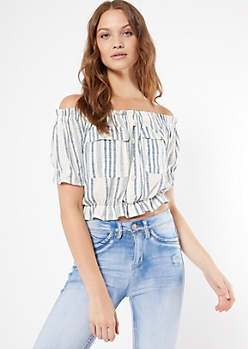 Ivory Striped Off The Shoulder Cinched Peplum Top