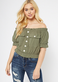 Olive Off The Shoulder Cinched Peplum Top