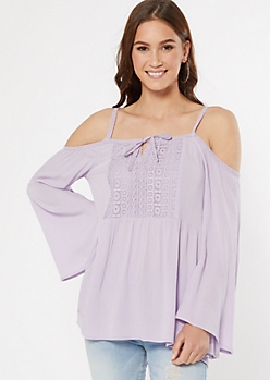 Lavender Cold Shoulder Bell Sleeve Top