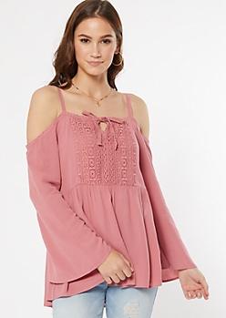 Pink Cold Shoulder Bell Sleeve Top