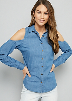 Medium Wash Cold Shoulder Chambray Shirt