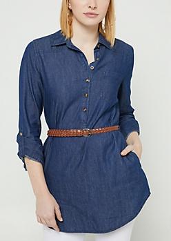 Dark Wash Denim Belted Tunic