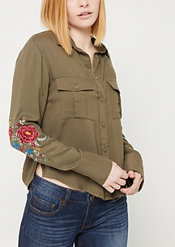 Olive Embroidered Button Down Shirt