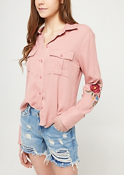 Pink Embroidered Button Down Shirt