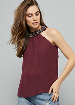 Burgundy Beaded High Neck Chiffon Tank Top