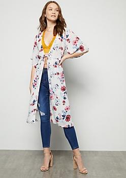 e4241632c89f0 White Floral Print Tie Front Kimono