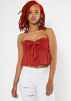 Rust Crocheted Babydoll Tube Top
